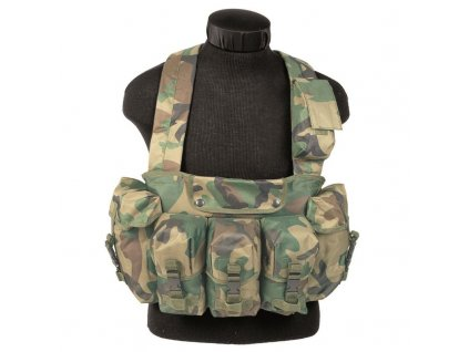 "Taktická vesta ""bandalír"" 6 kapes Woodland"