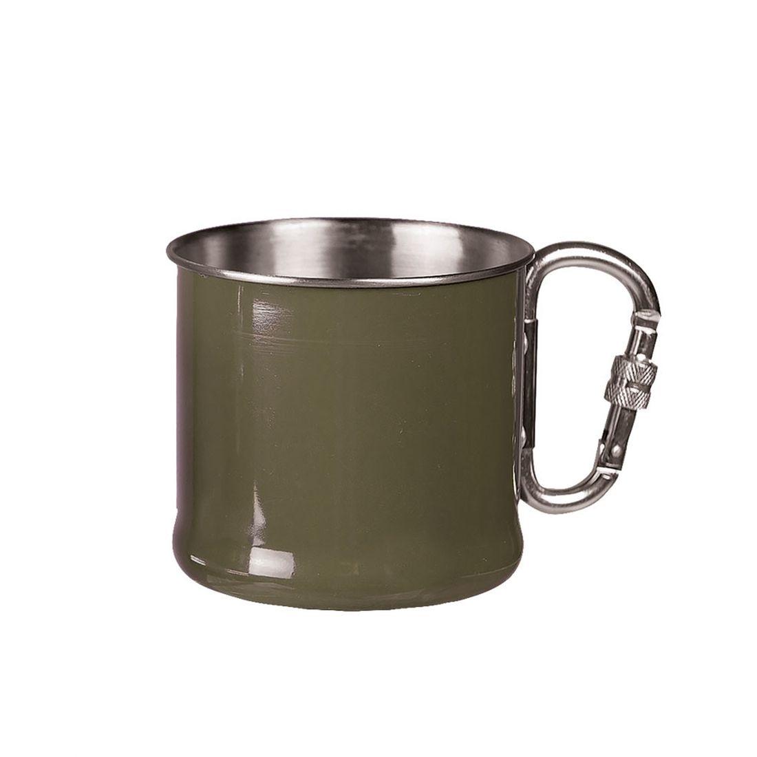MIL-TEC Hrnek Olive 500 ml s karabinou