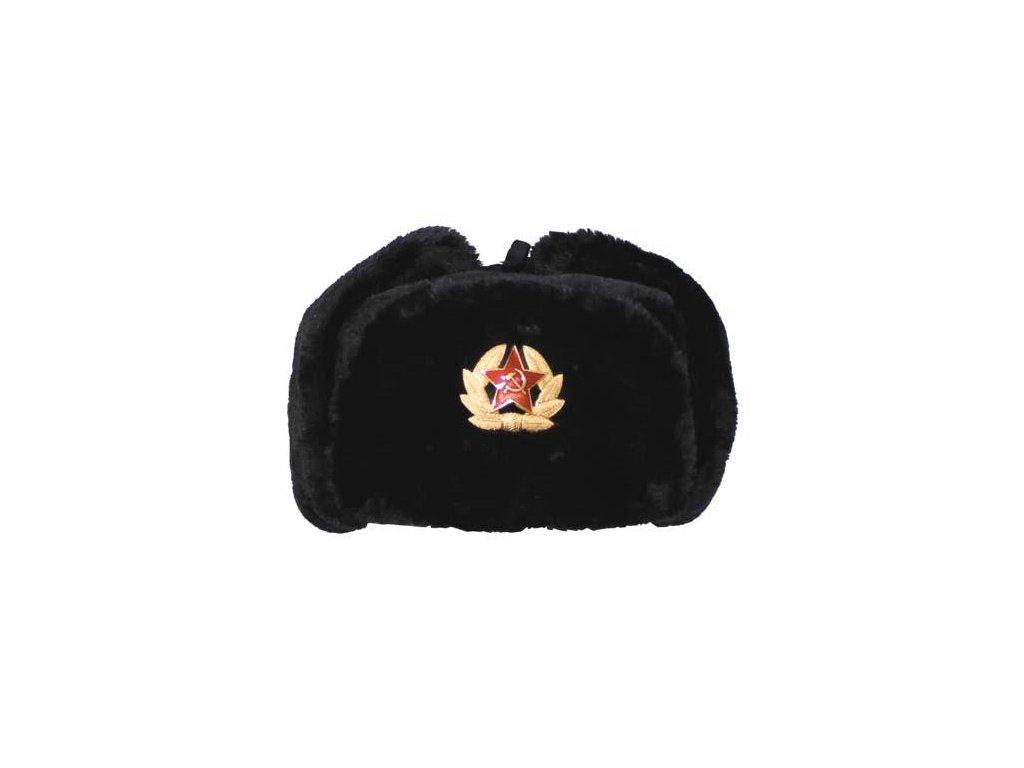 Čepice (beranice) ušanka ruská s odznakem černá - ARMY-SURPLUS 6a20413de3