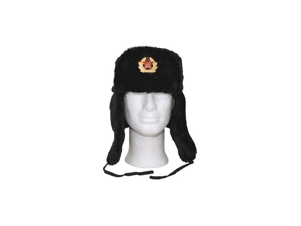 Čepice (beranice) ušanka ruská s odznakem černá