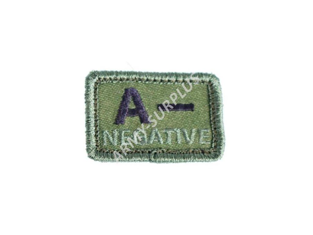 Označení krevní skupiny A- NEGATIVE - oliv