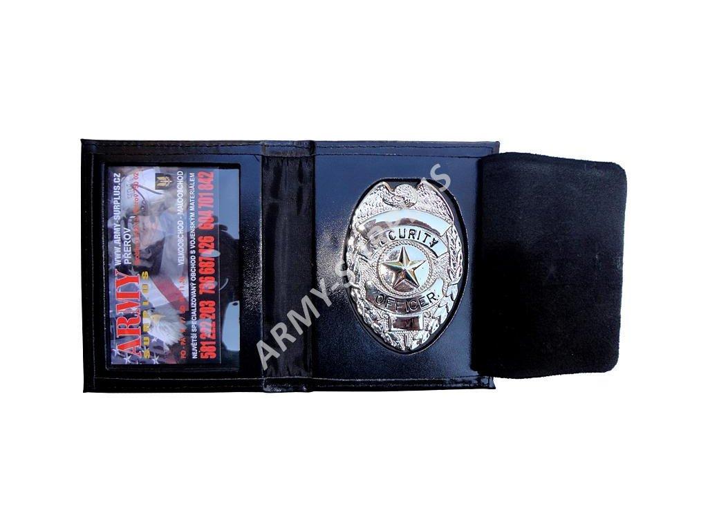 Peněženka kožená se stříbrným odznakem SECURITY OFFICER 15848018