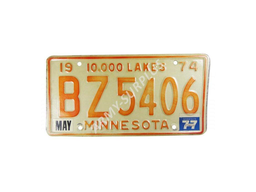 Poznávací značka na auto (License Plates) USA Minnesota 1974