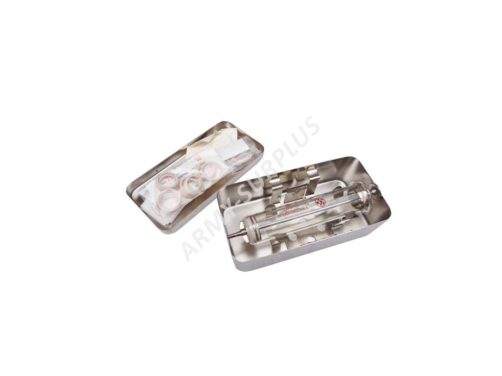 Injekční stříkačka skleněná v nerezové krabičce malá