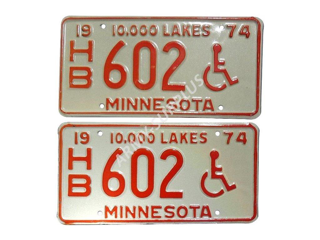 Poznávací značka na auto (License Plates) USA Minnesota 1974 vozíčkář