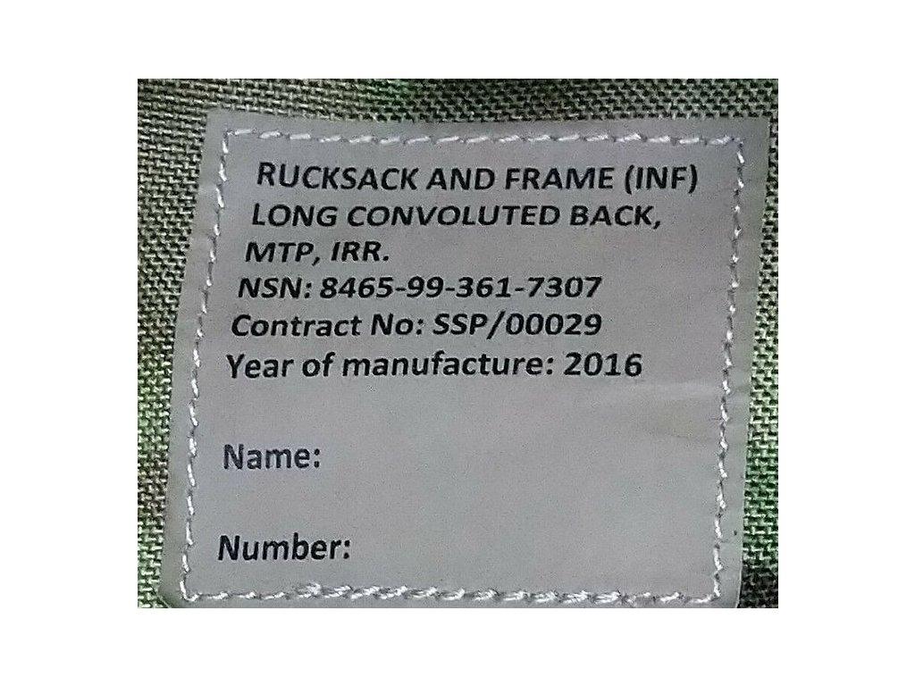 Batoh MTP PLCE System Infantry Bergen Long (100-120l) IRR Velká Británie originál