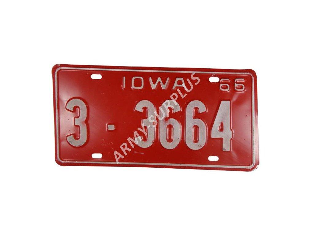 Poznávací značka na auto (License Plates) USA Iowa 1966