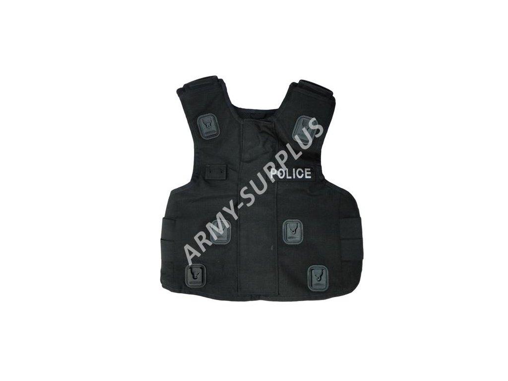 Taktická vesta neprůstřelná černá bez balistické vložky Velká Británie