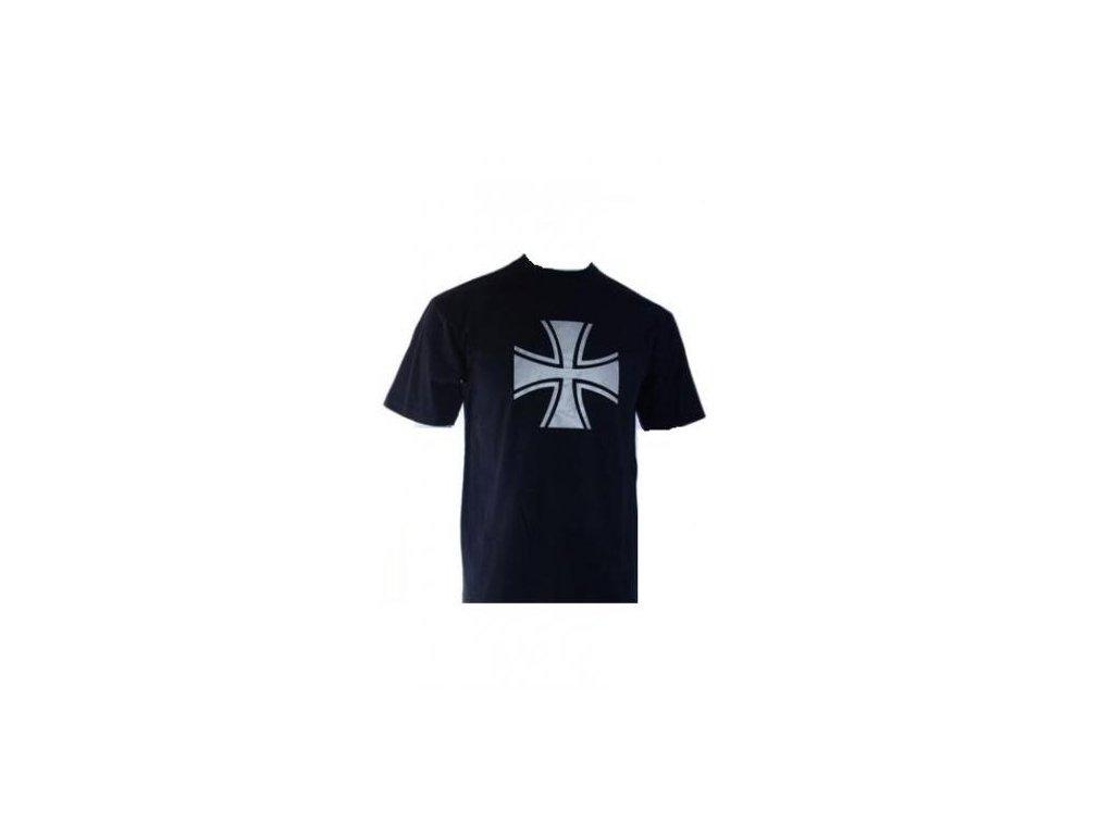 Tričko černé (triko) potisk bílý kříž