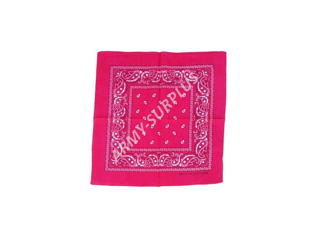 Šátek potisk western čtvercový růžový Pink