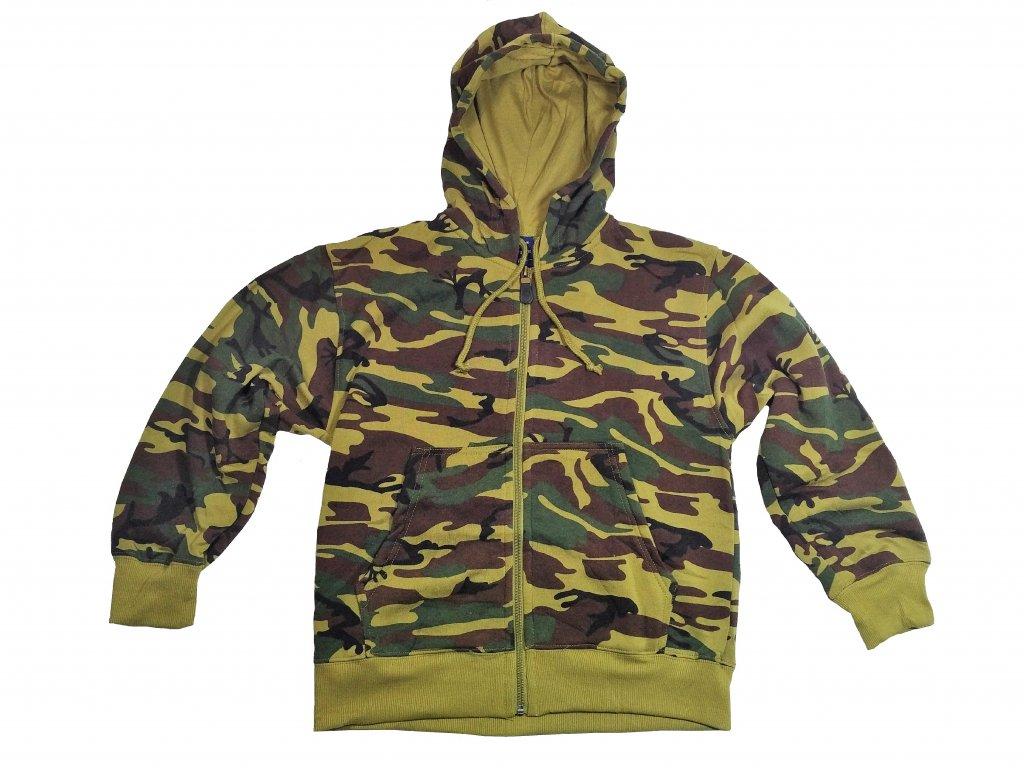 ČÍNA Mikina dětská fleece s kapucí woodland Velikost  122 128 0a9de31afd5