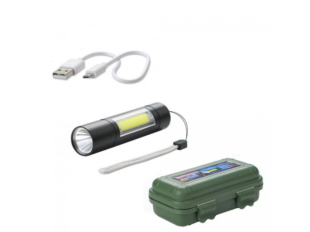 Svítilna (baterka) XPE COB LED 2v1 nabíjecí USB