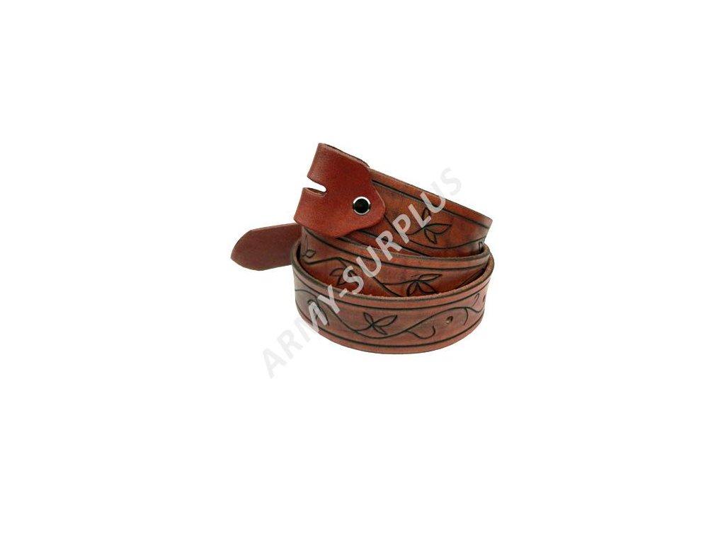 Opasek kožený zdobený bez spony (přezky) - vzor 14 (ruční výroba)