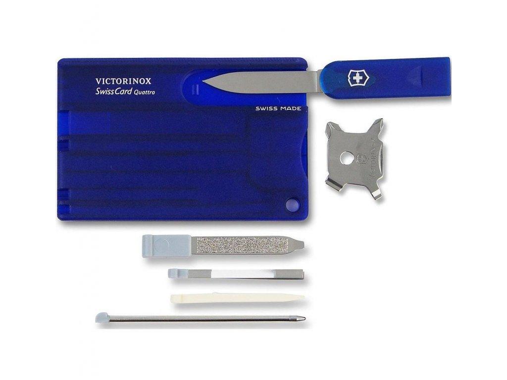 Victorinox SwissCard Quattro multifunkční karta na přežití modrá