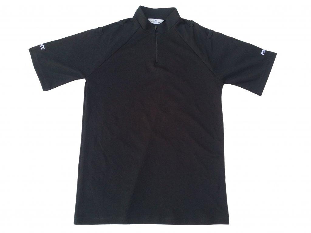 Triko funkční na zip Velká Británie Police krátký rukáv černé originál