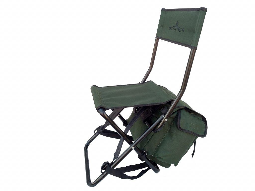 Batoh se stoličkou a opěrkou STINGER zelený