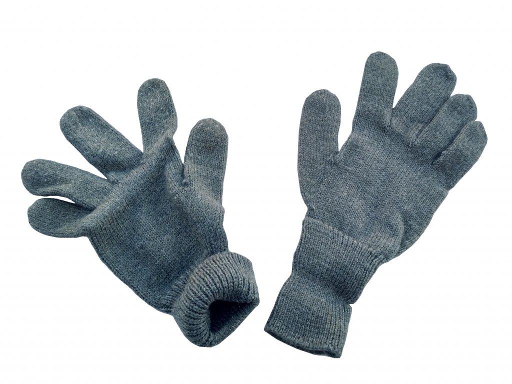 Rukavice pětiprsté vlněné pletené šedé Švýcarsko originál