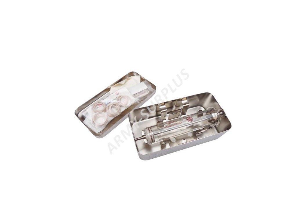 Injekční stříkačka skleněná v nerezové krabičce velká