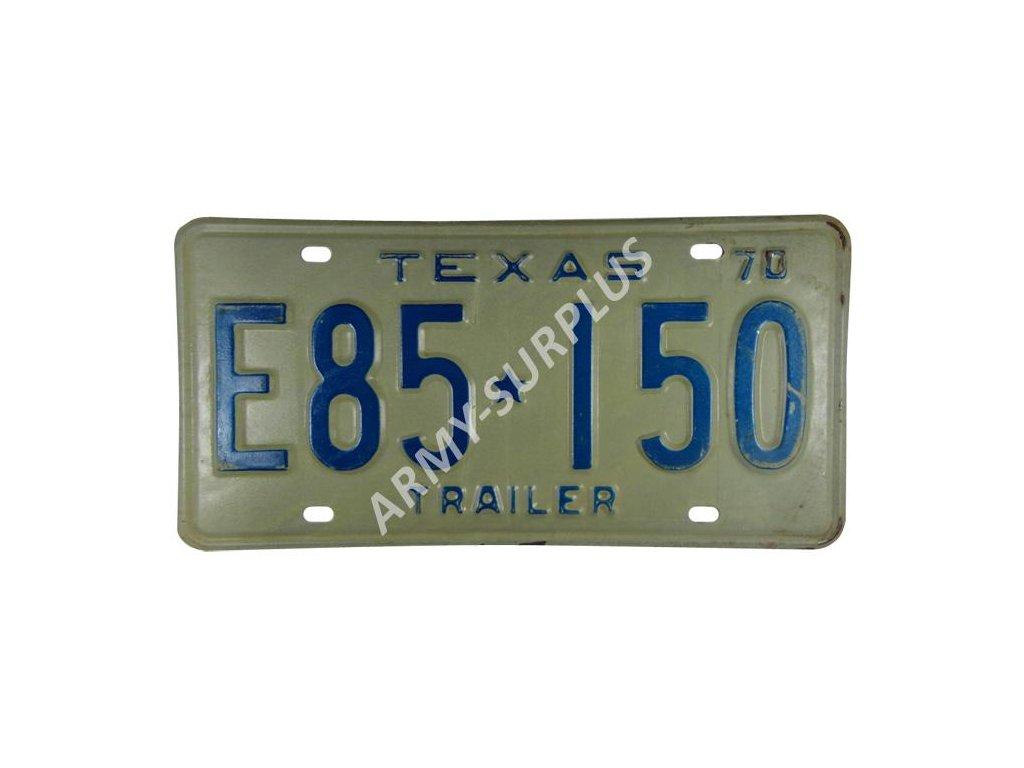 Poznávací značka na auto (License Plates) USA Texas 1970