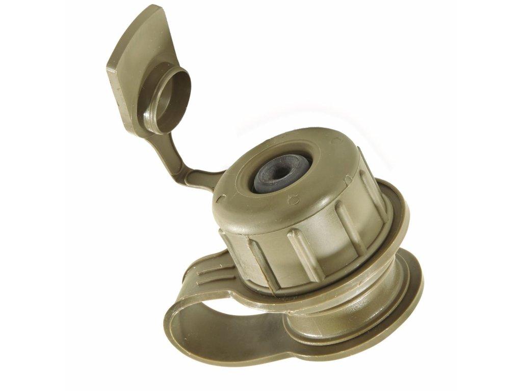 Víčko uzávěr na polní láhev (čutoru) s ventilem k plynové masce oliv US originál