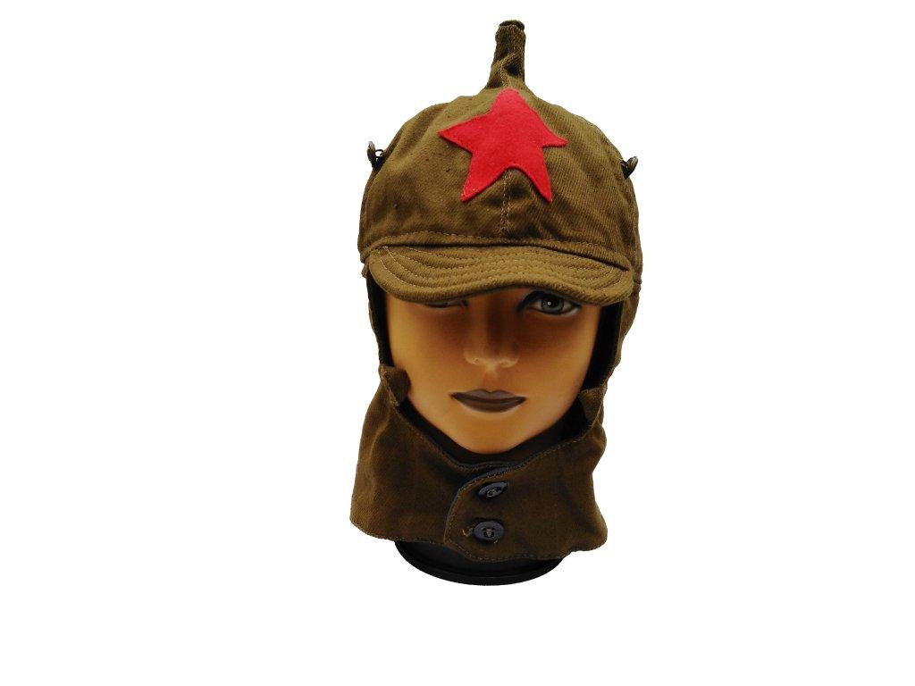 Čepice Budenovka Rusko letní khaki s červenou hvězdou