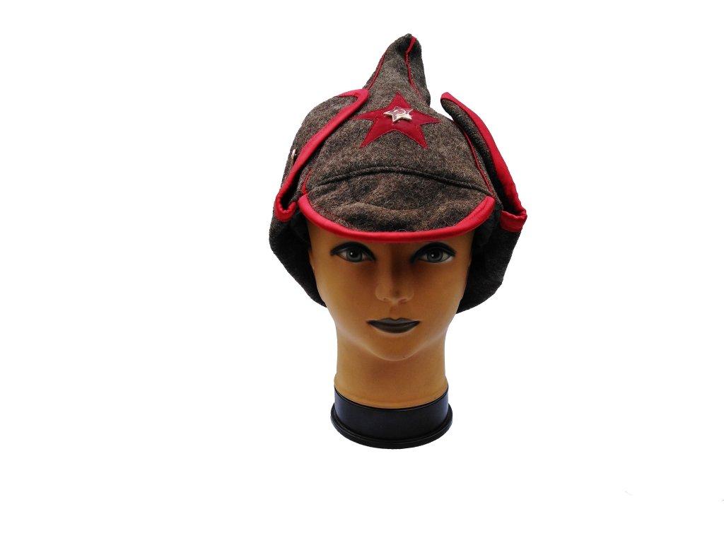 Čepice Budenovka Rusko zimní khaki s odznakem a červenou hvězdou