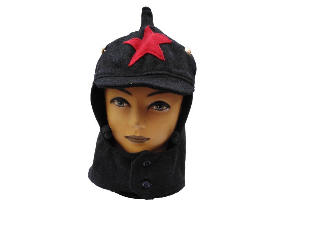 Čepice Budenovka Rusko zimní černá s červenou hvězdou
