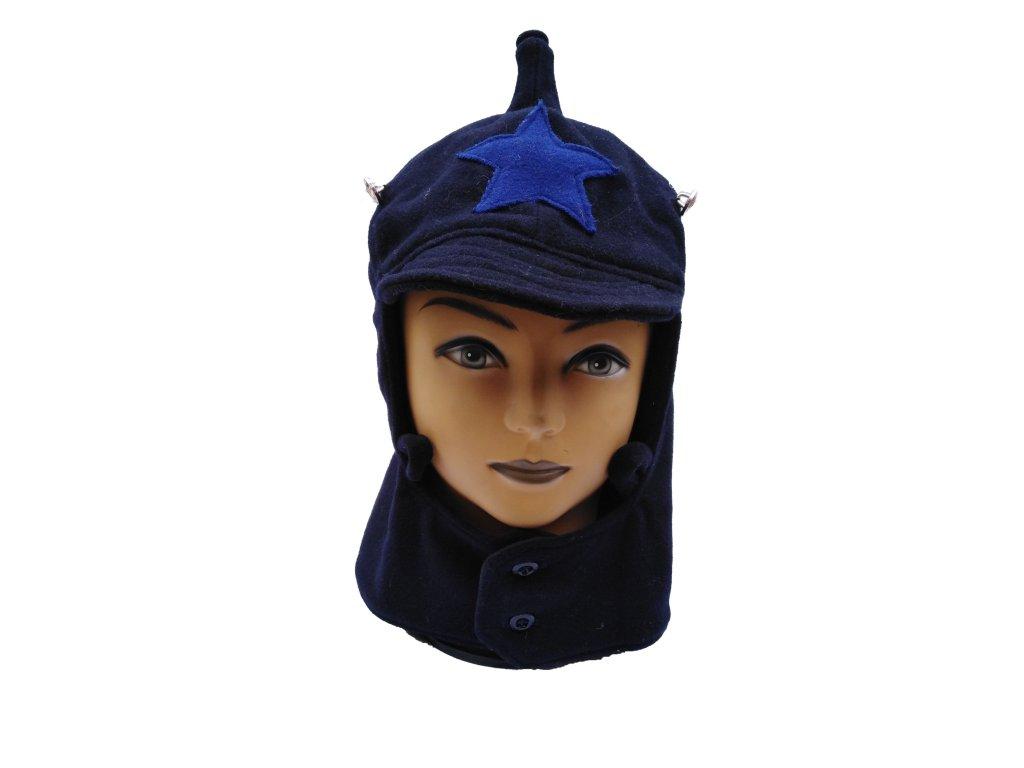 Čepice Budenovka Rusko zimní tmavě modrá s modrou hvězdou