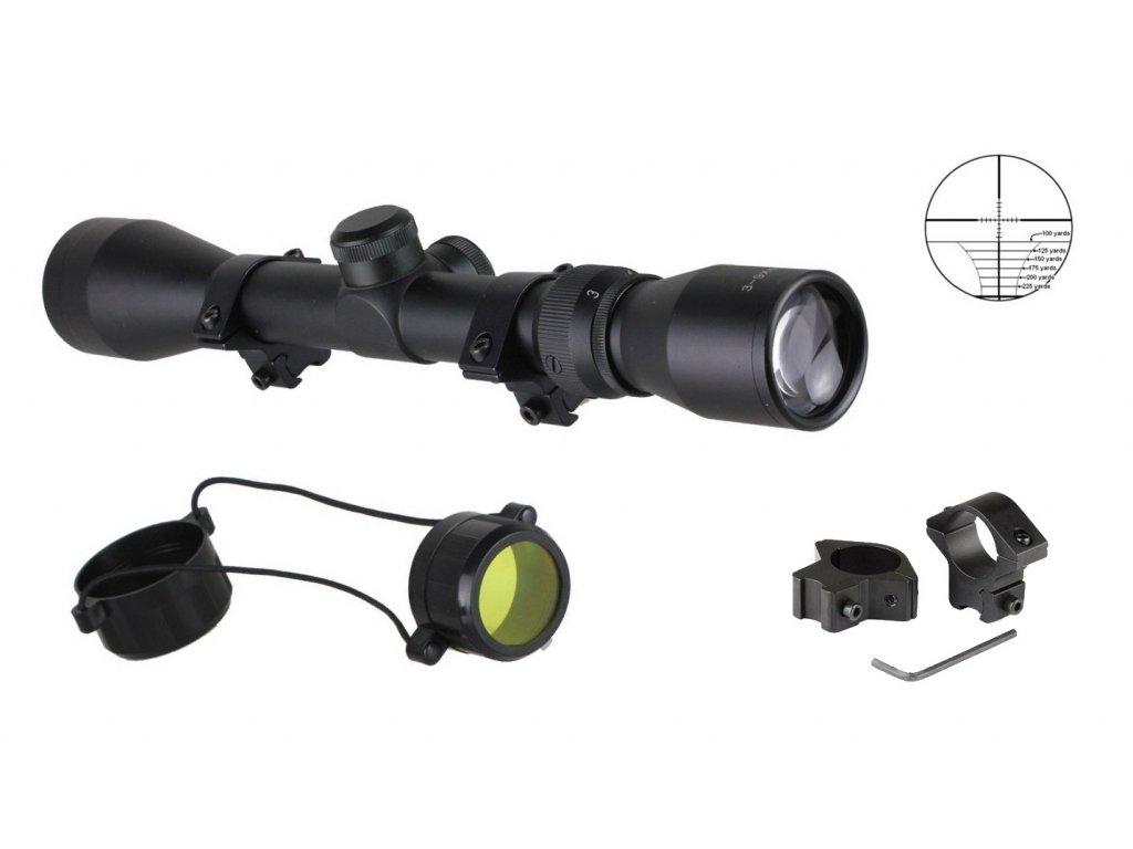 Puškohled (zaměřovač) 3-9 x 40 zoom Rifle Scope Boshile montáž 11 mm