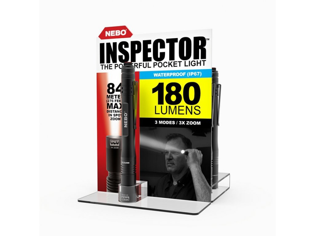 Svítilna NEBO INSPECTOR IP67 černá zoom 180 Lumens