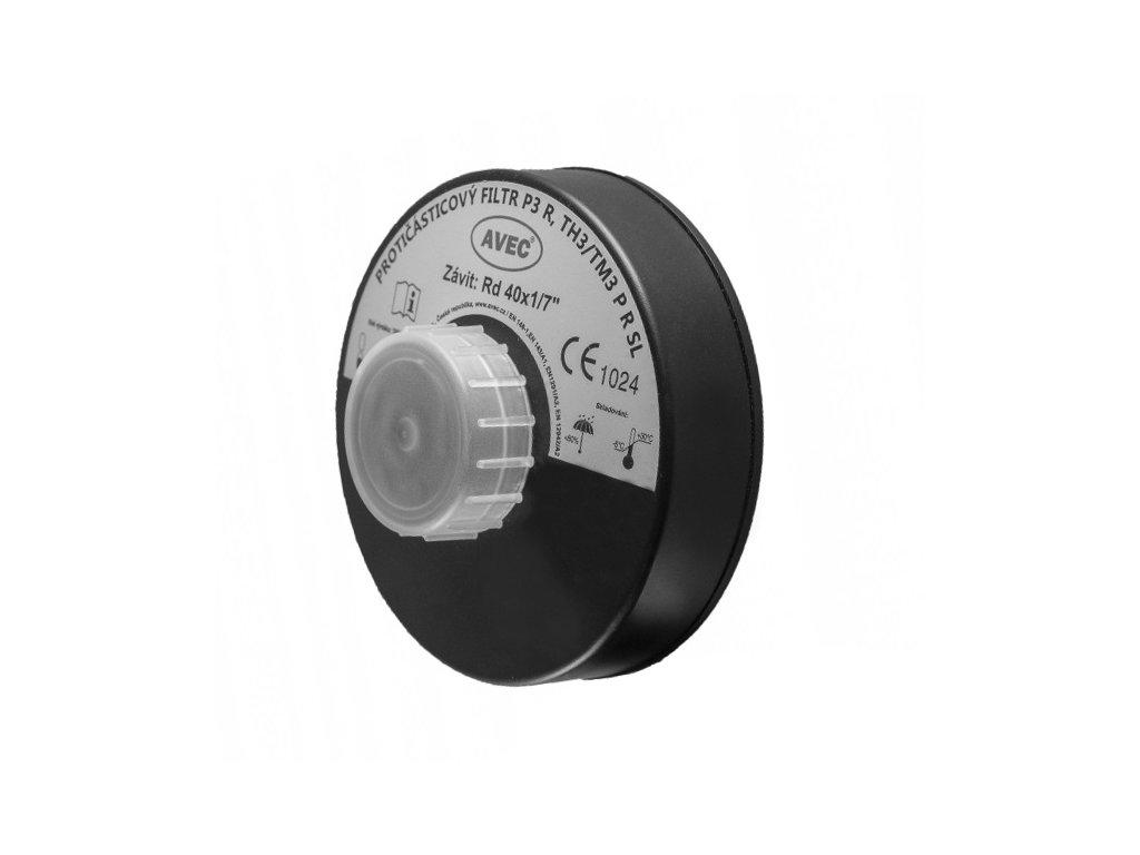 Protičásticový filtr na plynovou masku třídy P3 AVEC závit 40x1,7