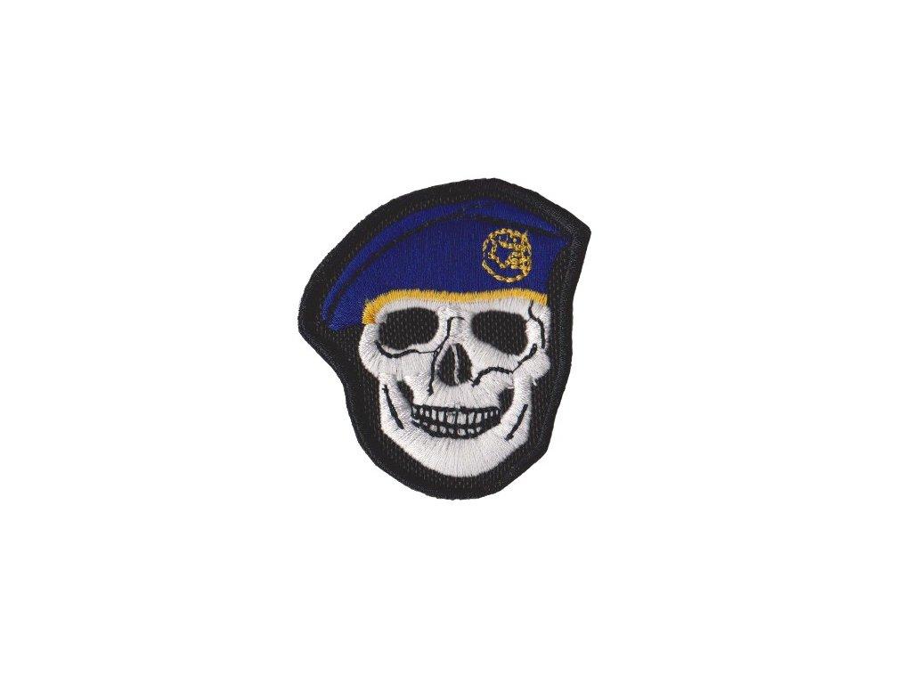 Nášivka lebka - tmavě modrý baret