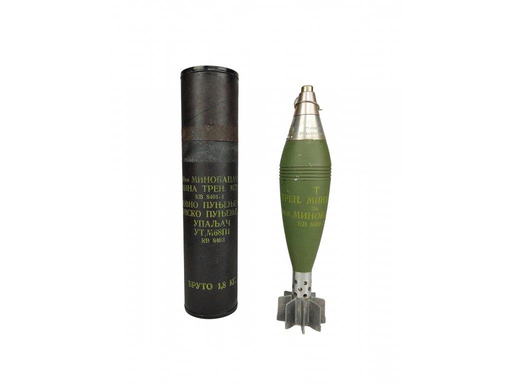 Minometný granát 60mm EOM M73 se zapalovačem UTM-68P1 znehodnocený Jugoslávie
