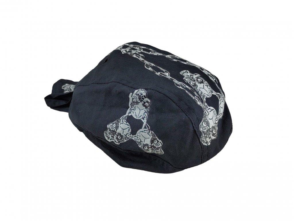 Šátek pirát černý lebky s řetězem