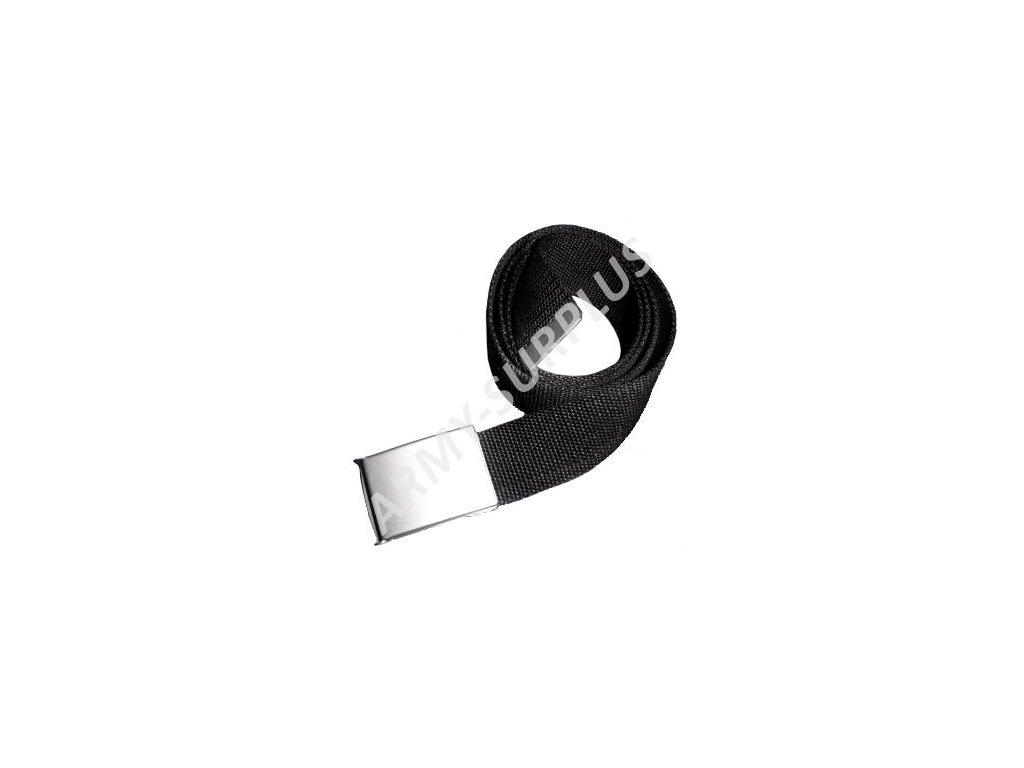 Opasek kalhotový černý stříbrná spona 30mm