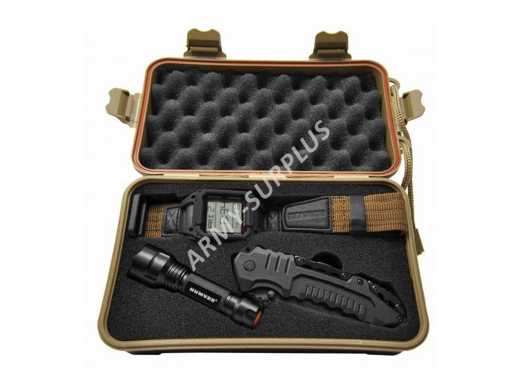 Sada (set) Humvee hodinky,nůž zavírací,led svítilna,plastový box HMV-RCN-RM1