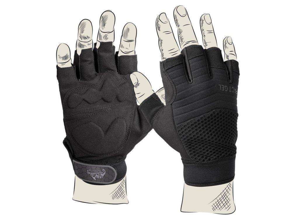 Rukavice Half Finger Gloves Impact Gel Helikon černé RK-HFG-PO-01