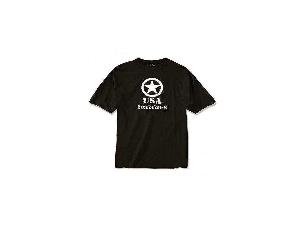 Tričko (triko) potisk hvězda USA černé