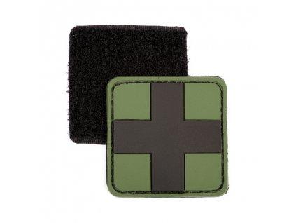 Nášivka Medic černý kříž 3D PVC suchý zip