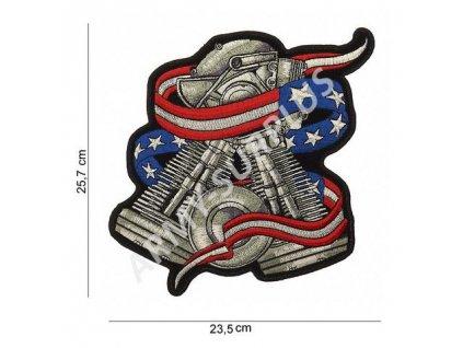 Nášivka nažehlovací Motorblock 25,7 x 23,5 cm