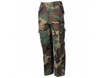 Kalhoty dětské maskovací woodland MFH 17152T