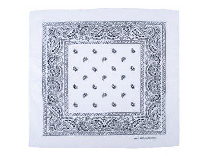 Šátek potisk western čtvercový bílý 16403L