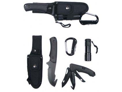 Nůž multifunkční černý + baterka MFH 45451A