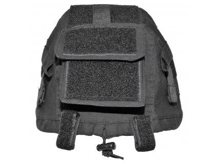 Potah (povlak,obal,převlek) na helmu černý s kapsami  a velcrem