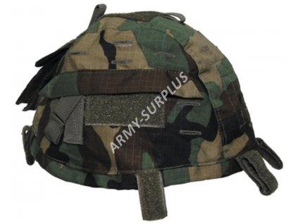 Potah (povlak,obal,převlek) na kevlarovou helmu s kapsou a velcro woodland - MFH