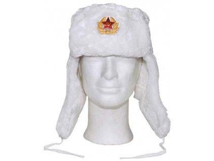 Čepice (beranice) ušanka ruská s odznakem bílá