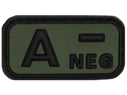 Označení krevní skupiny A- negative 3D PVC oliv MFH