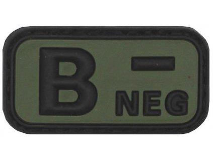 Označení krevní skupiny B- negative 3D PVC oliv MFH