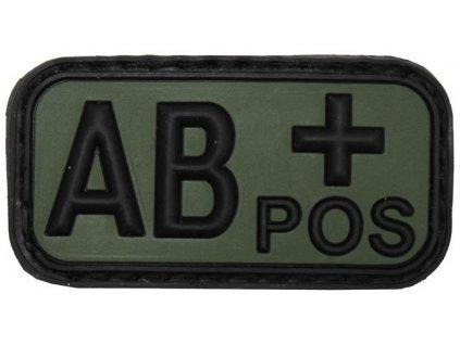 Označení krevní skupiny AB+ positive 3D PVC oliv