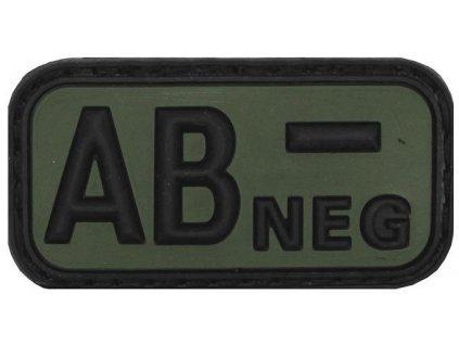 Označení krevní skupiny AB- negative 3D PVC oliv MFH